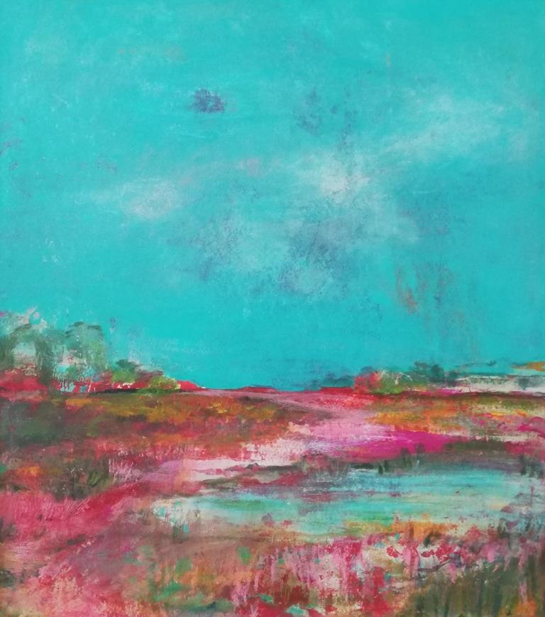 Moorlandschaft in Pink